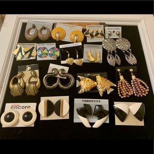 16 prs vintage earrings mixed deadstock 1980's